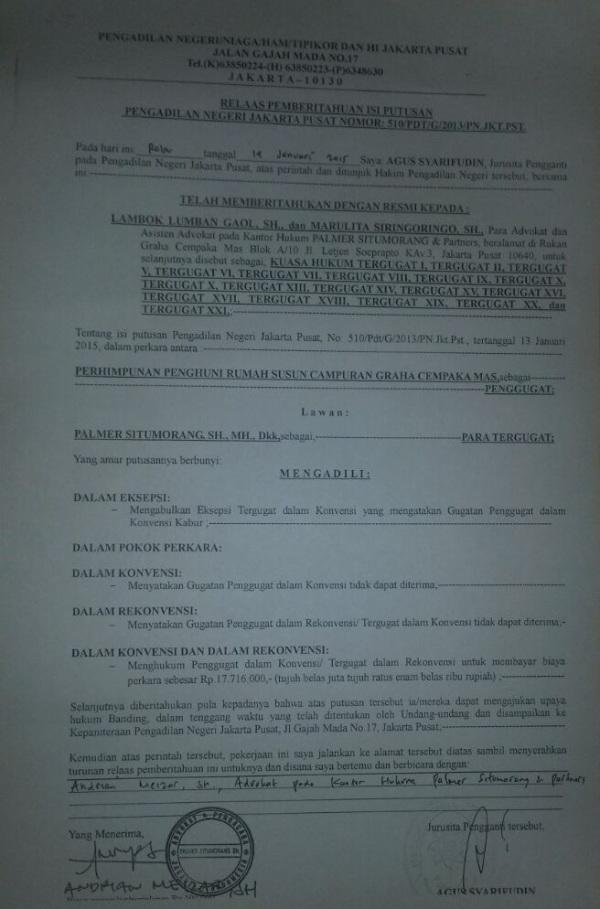 Relaas Pengadilan -  GCM - P3SRS Warga Murni Menang