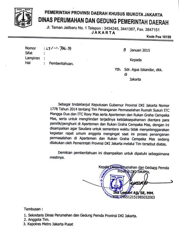 Surat Dinas Perumahan dan Gedung DKI 01