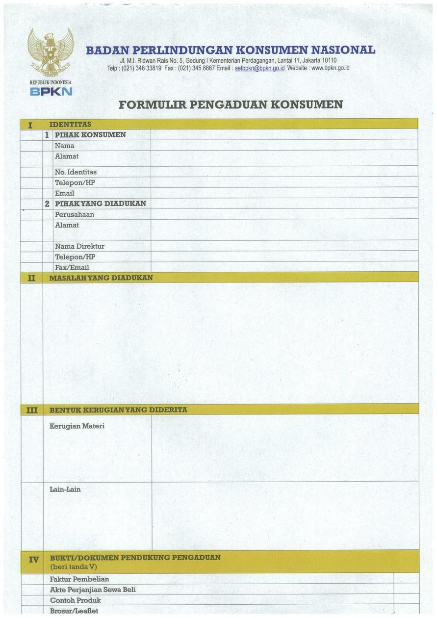 Formulir Pengaduan Konsumen 1