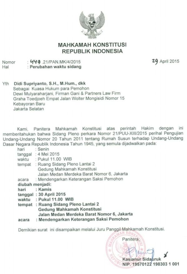 Undangan MK 30 April 2015