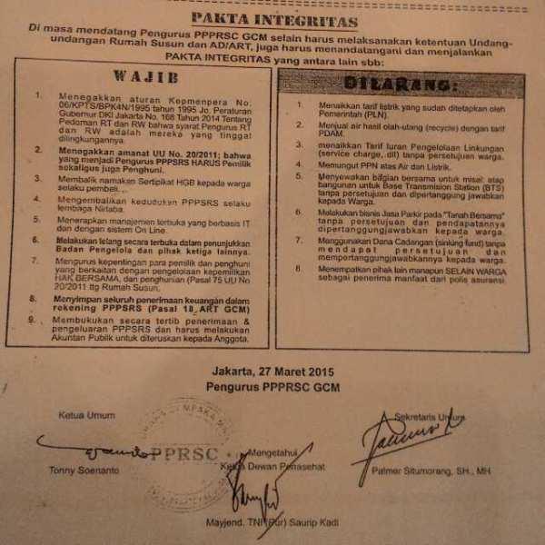 Pakta Integritas - GCM